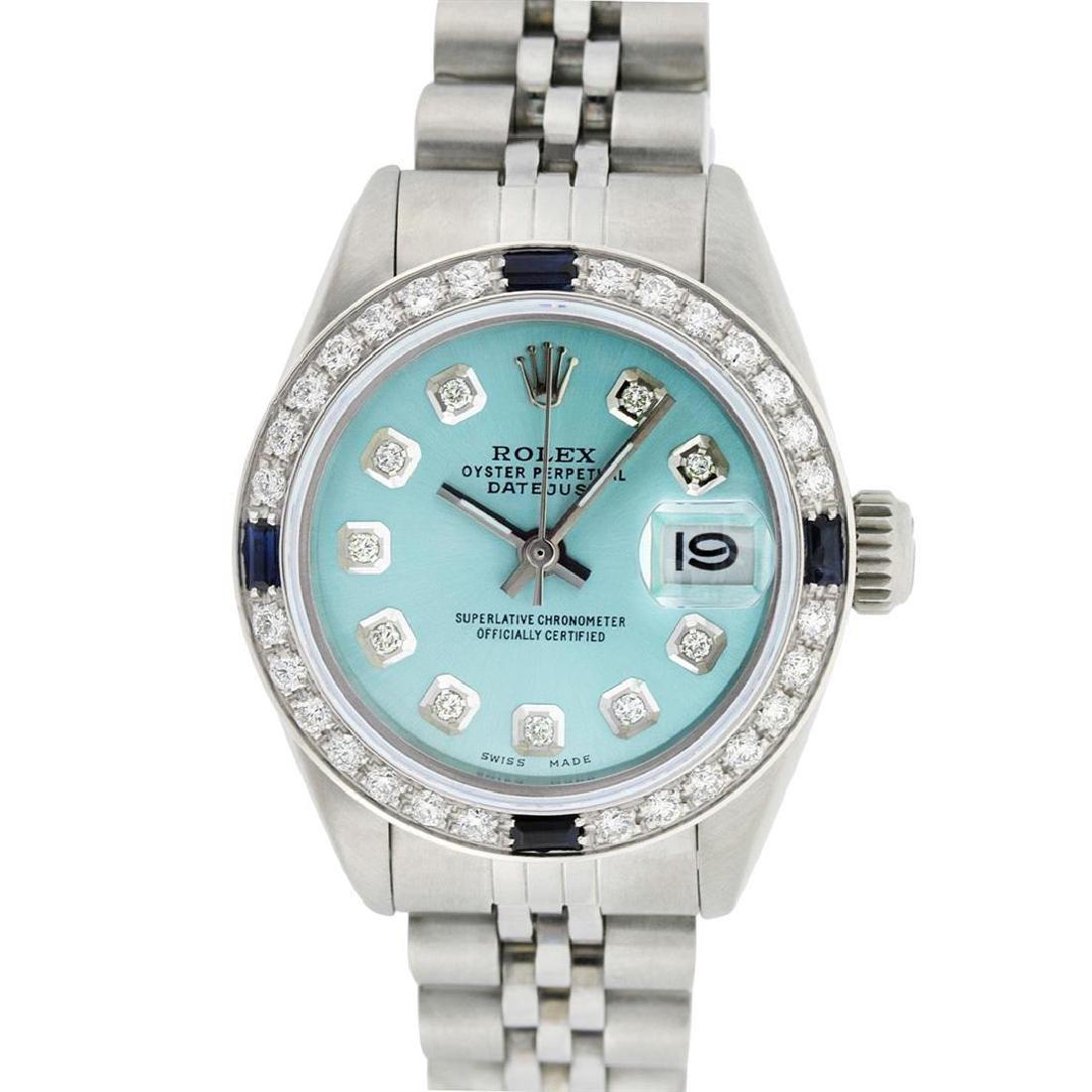 Rolex Ladies Stainless Steel Ice Blue Diamond & - 2