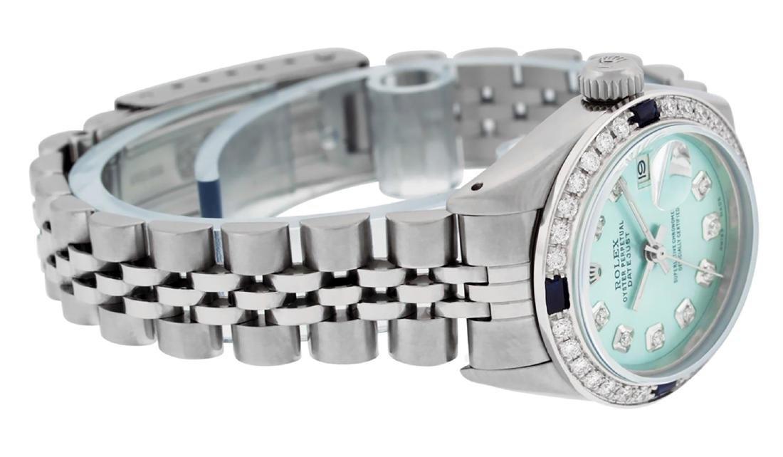 Rolex Ladies Stainless Steel Ice Blue Diamond & - 3