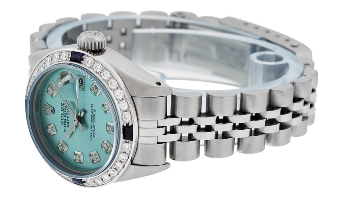 Rolex Ladies Stainless Steel Ice Blue Diamond & - 4
