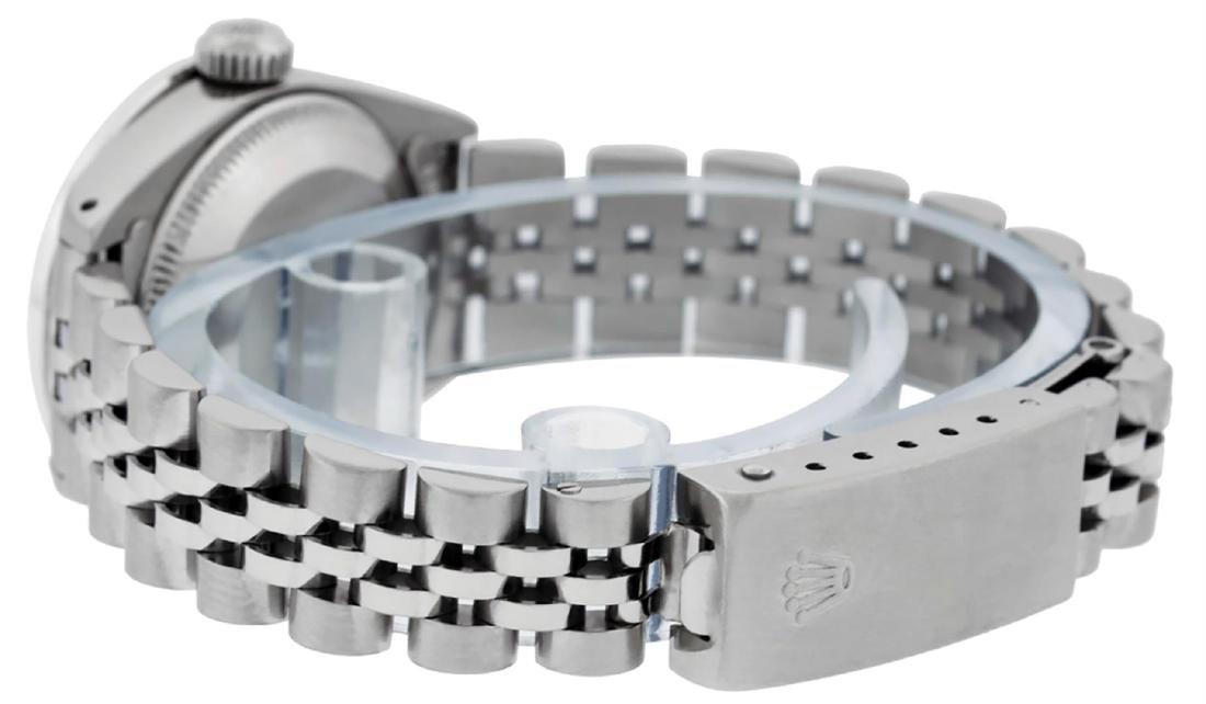 Rolex Ladies Stainless Steel Ice Blue Diamond & - 6