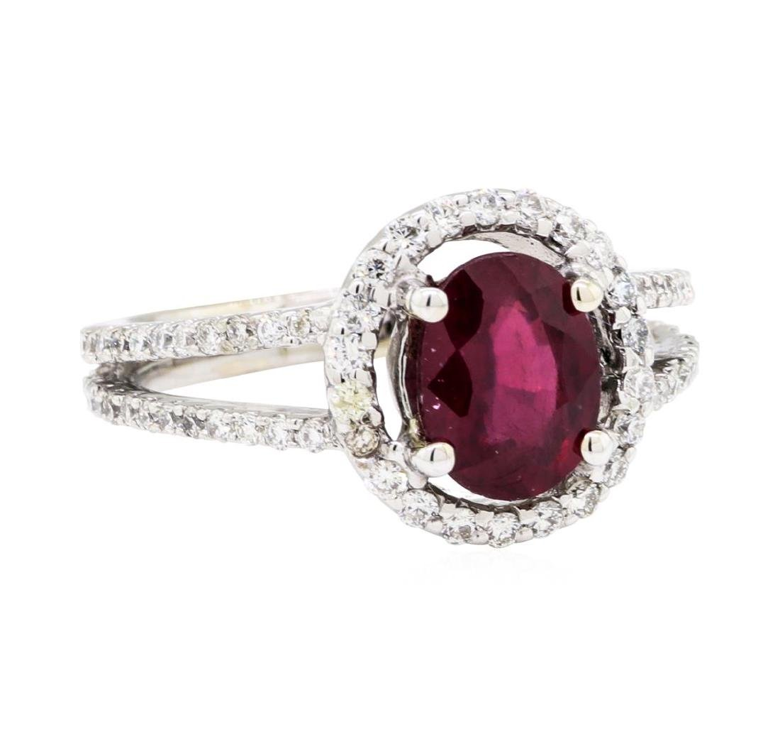 18KT White Gold 1.74 ctw Ruby and Diamond Ring
