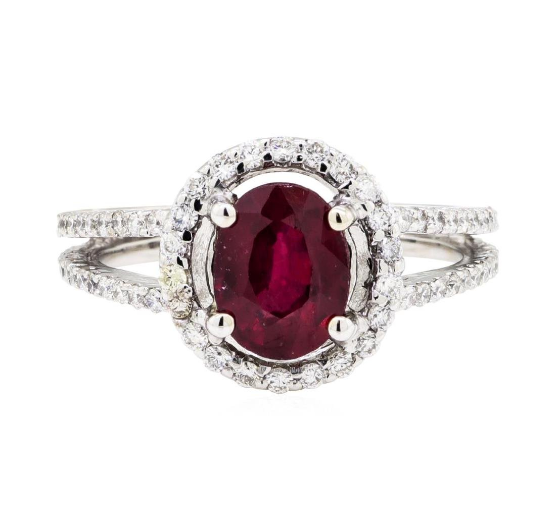 18KT White Gold 1.74 ctw Ruby and Diamond Ring - 2