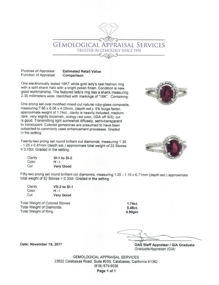 18KT White Gold 1.74 ctw Ruby and Diamond Ring - 5