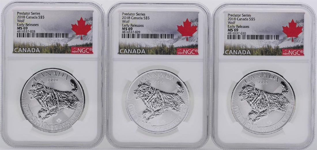 Lot of (3) 2018 $5 Canada Predator Series Wolf Silver