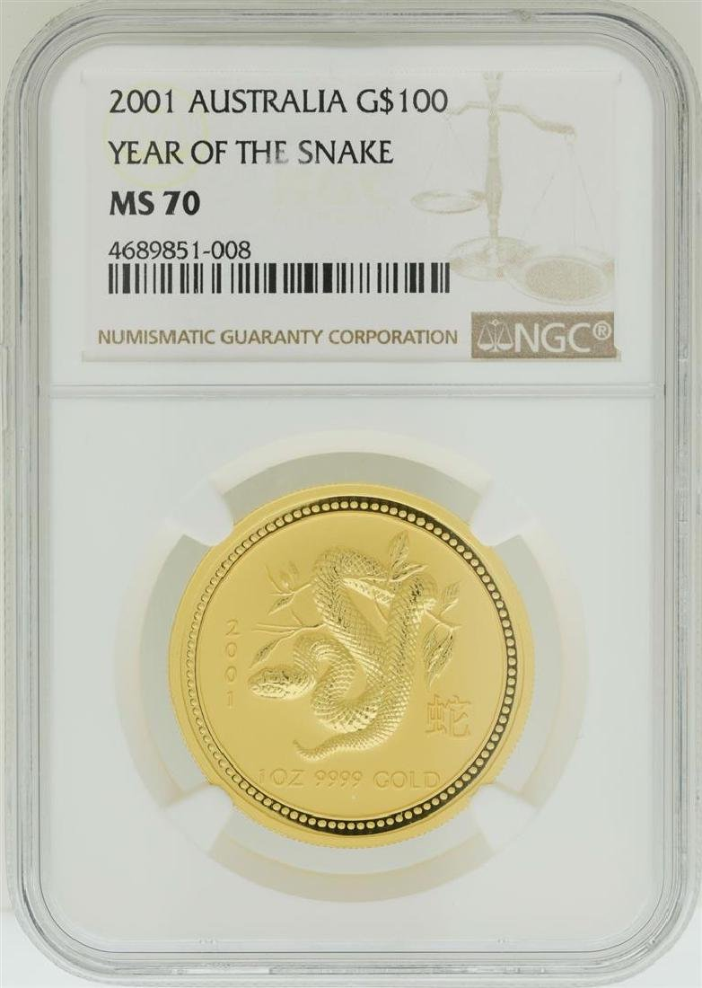 2001 $100 Australia Year of the Snake Gold Coin NGC
