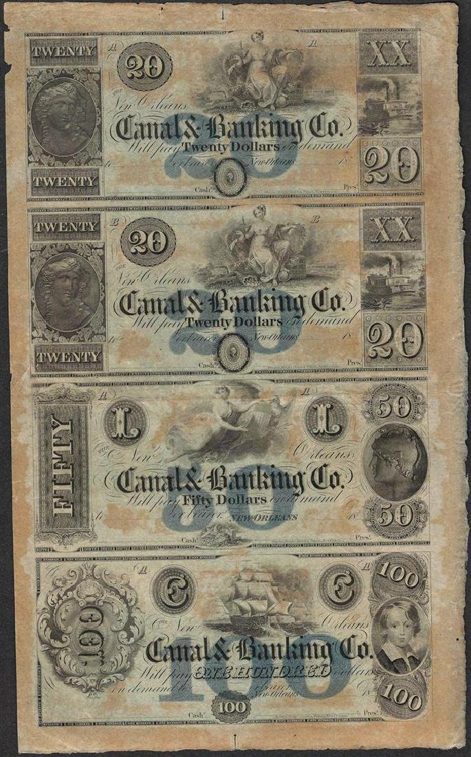 Uncut Sheet of 1800's Canal & Banking Co. Obsolete