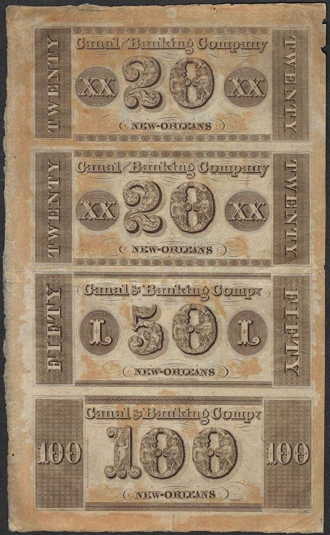 Uncut Sheet of 1800's Canal & Banking Co. Obsolete - 2