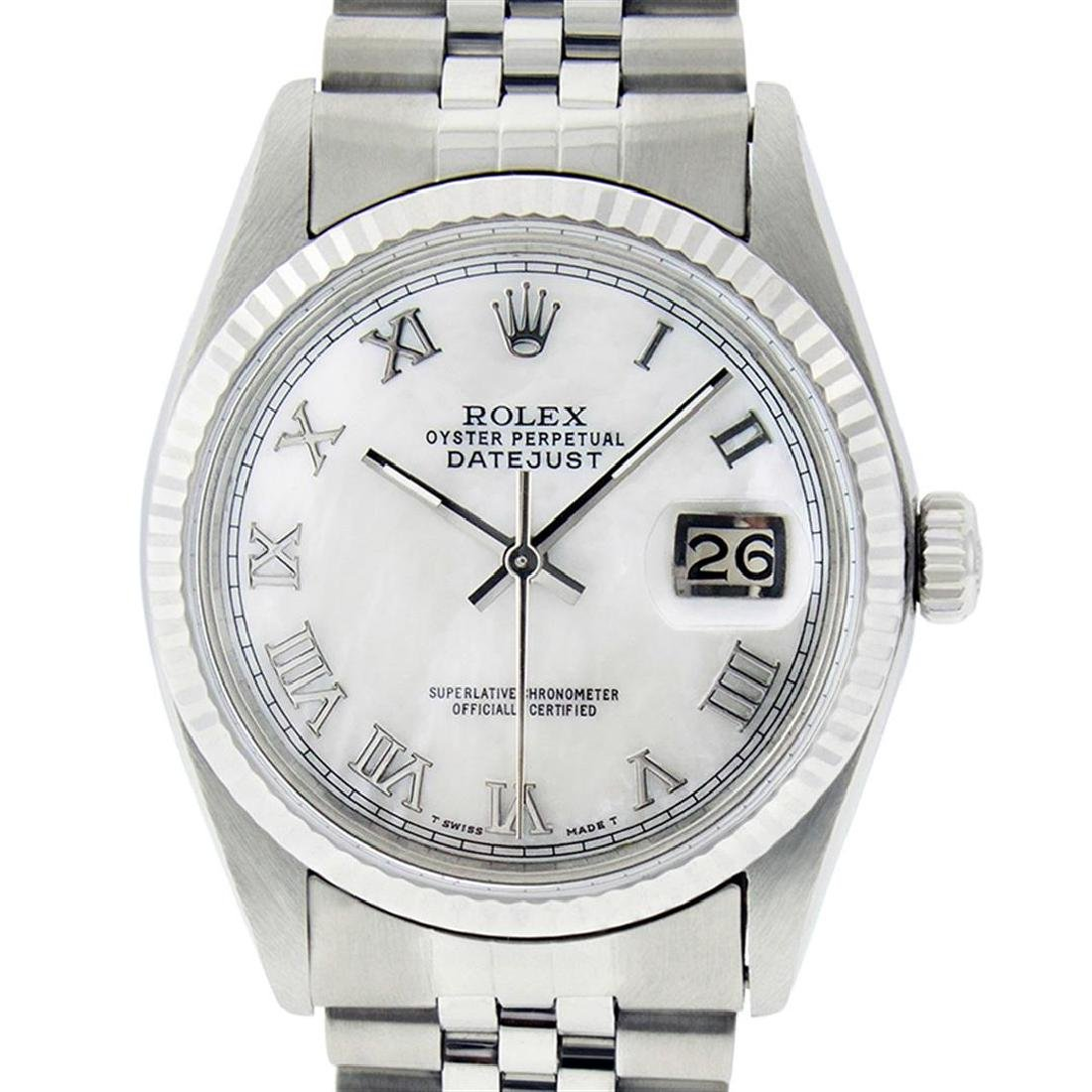 Rolex Men's Stainless Steel Mother Of Pearl Roman
