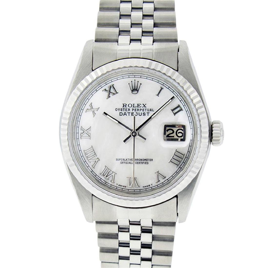 Rolex Men's Stainless Steel Mother Of Pearl Roman - 2