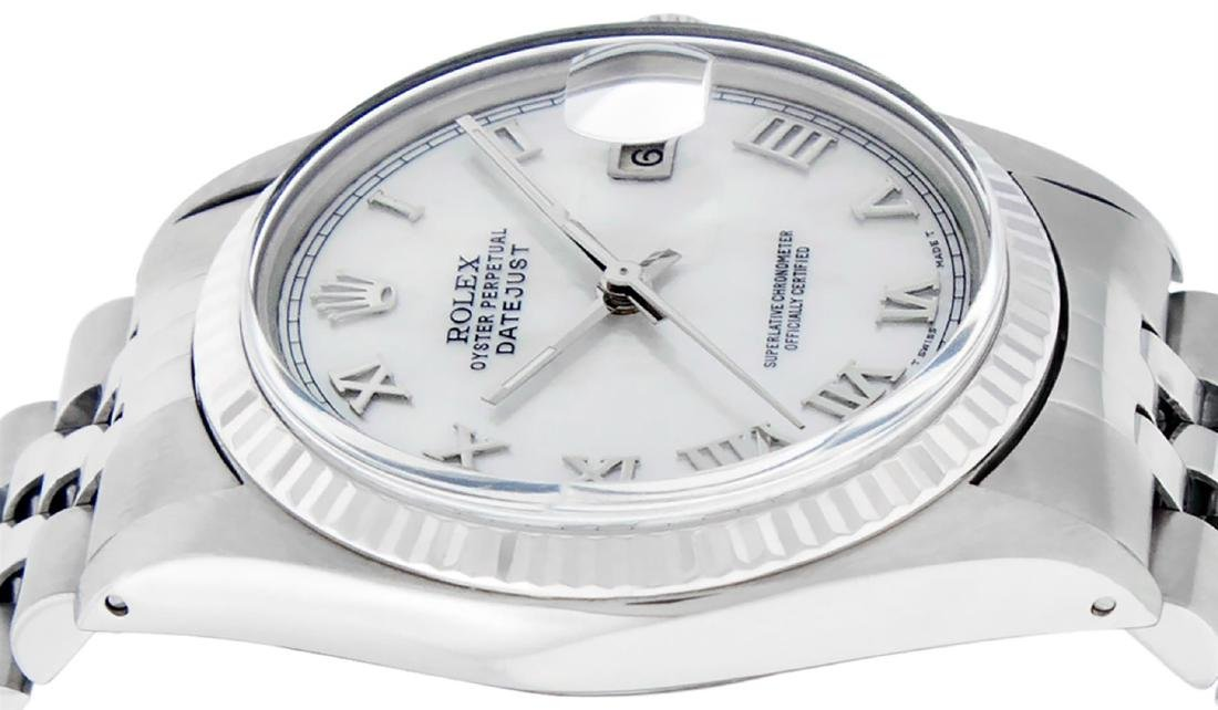 Rolex Men's Stainless Steel Mother Of Pearl Roman - 7