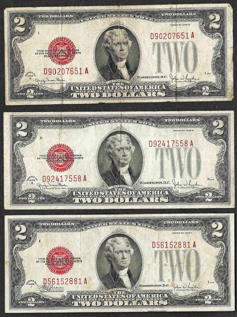 Lot of (3) 1928 $2 Legal Tender Notes