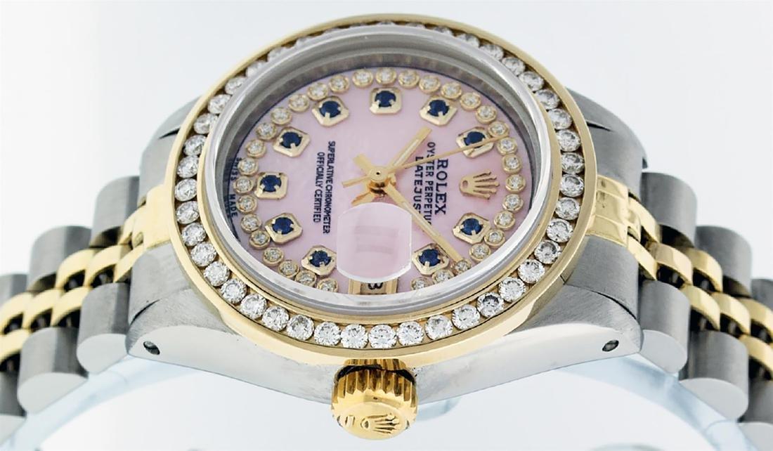 Rolex Ladies Two Tone 14K Pink MOP Sapphire String - 3