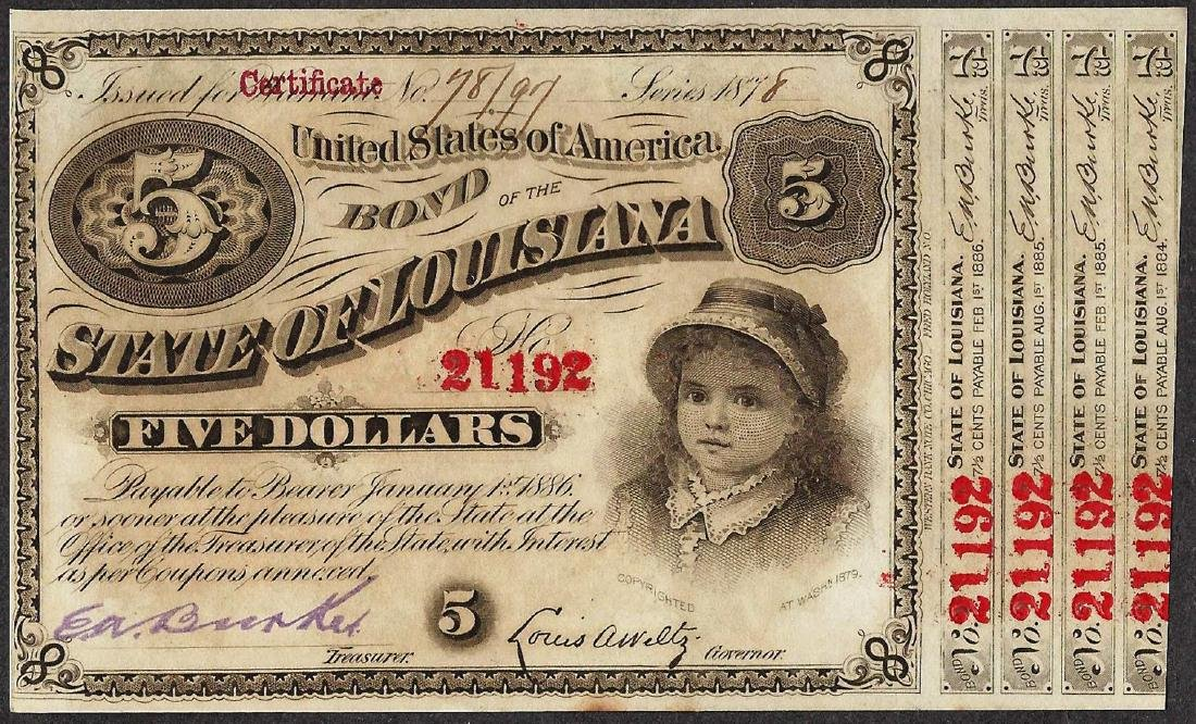 1878 $5 State of Lousiana Baby Bond Obsolete Note