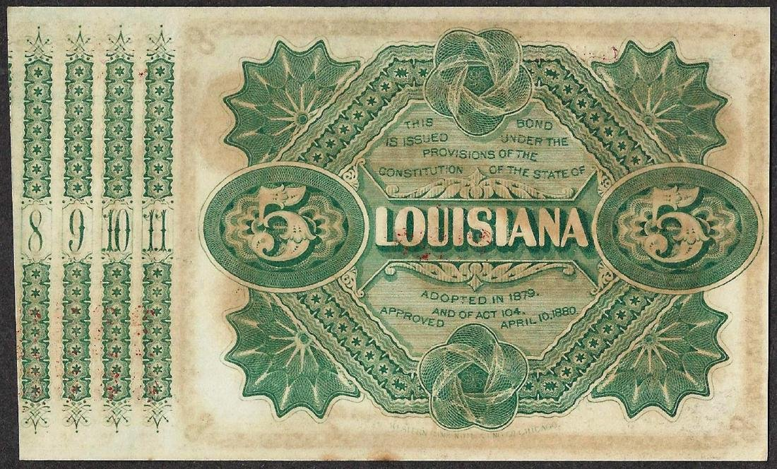 1878 $5 State of Lousiana Baby Bond Obsolete Note - 2