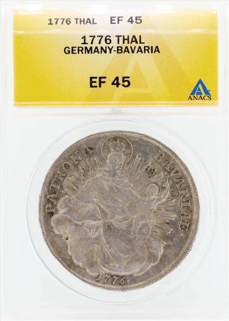 1776 Thal Germany Bavaria Coin ANACS EF45