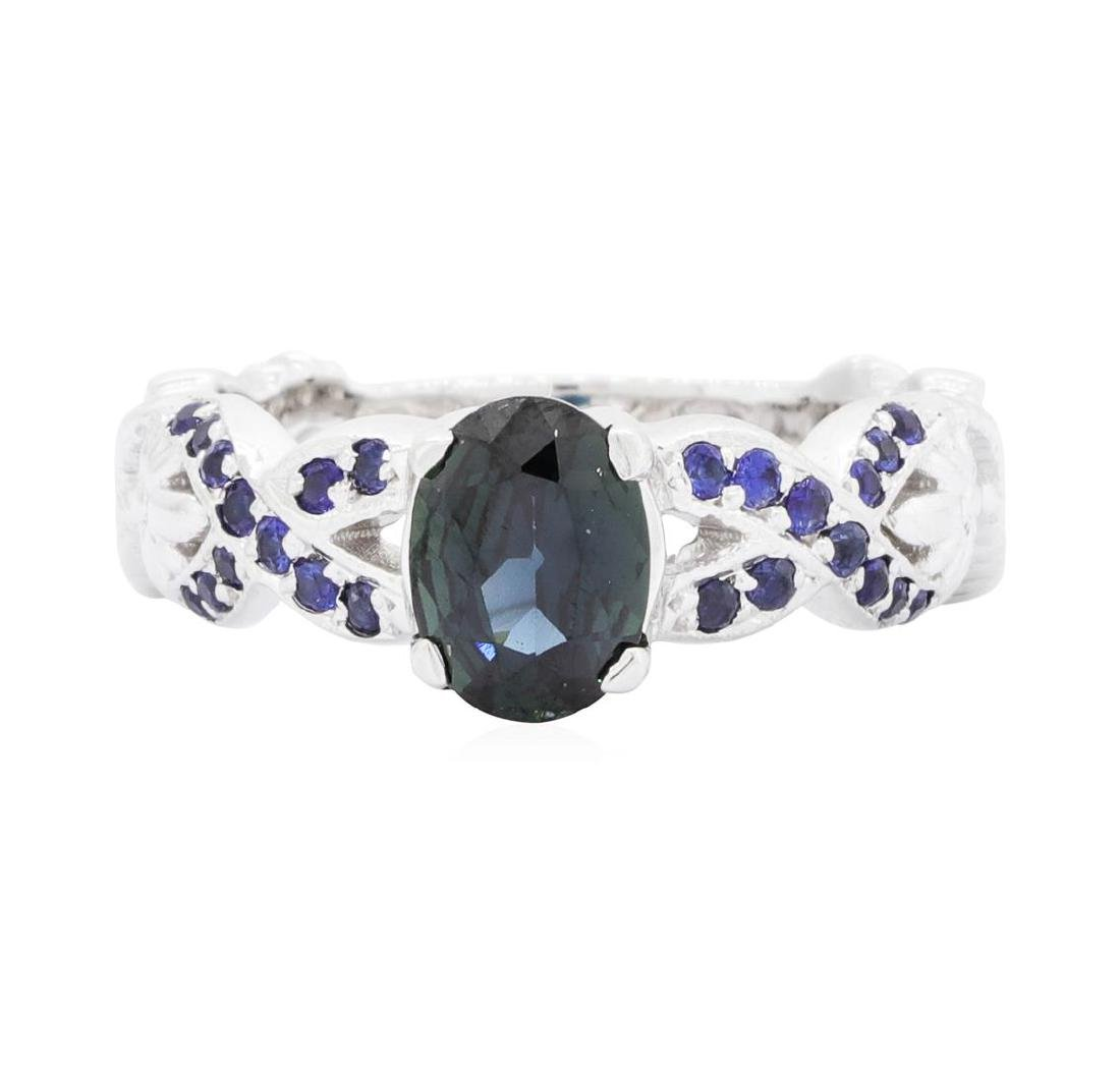 14KT White Gold 1.20 ctw Sapphire Ring