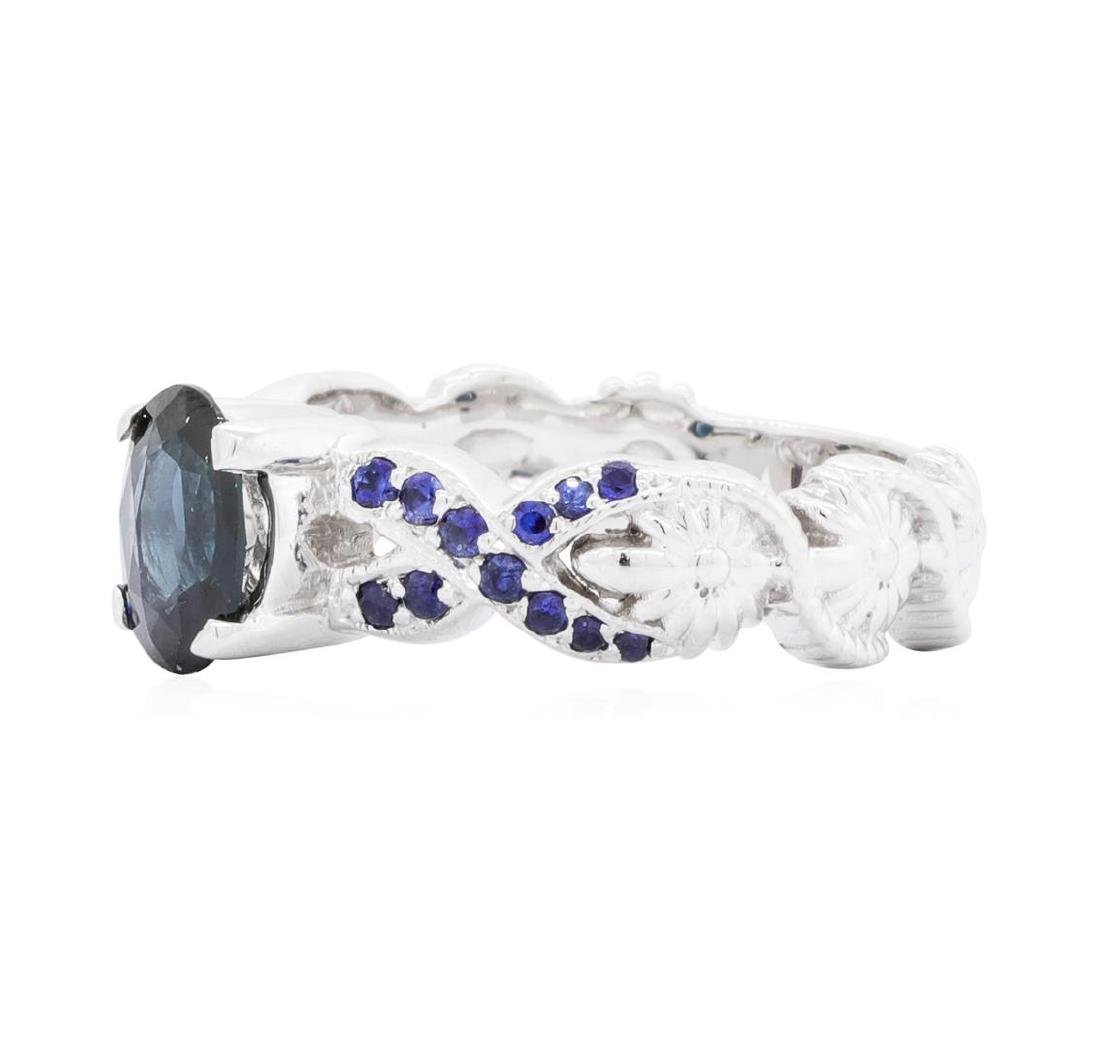 14KT White Gold 1.20 ctw Sapphire Ring - 2