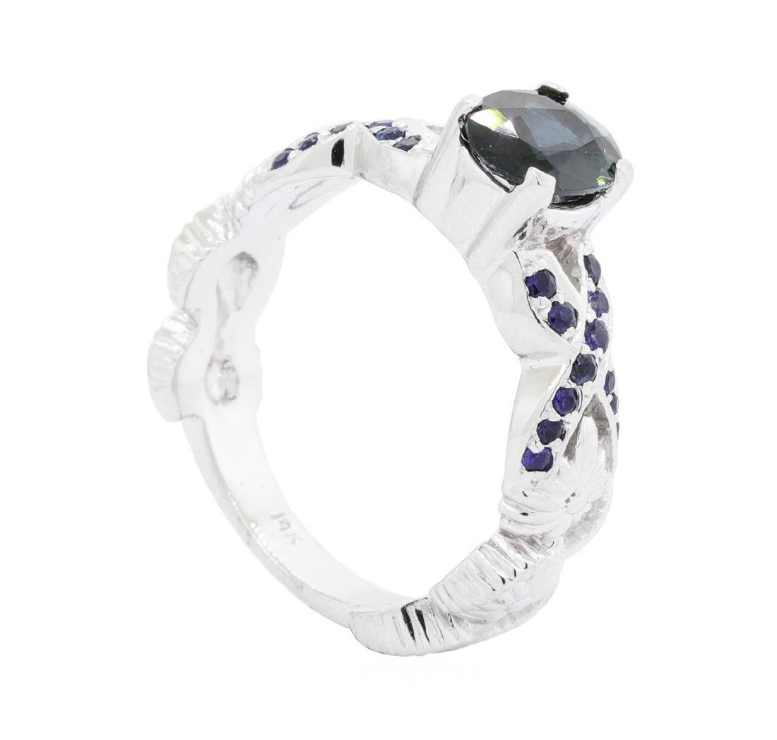 14KT White Gold 1.20 ctw Sapphire Ring - 4