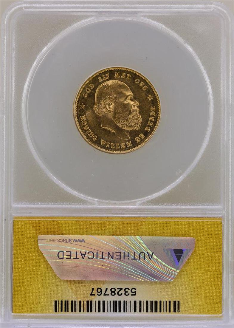 1876 Netherlands 10 Guilders Gold Coin ANACS AU58 - 2