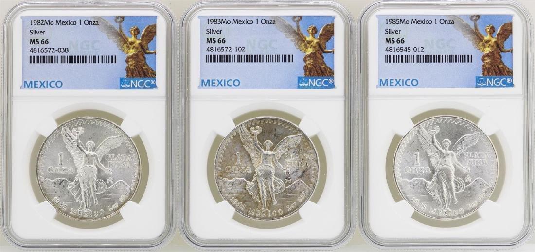 Lot of 1982Mo/1983Mo/1985Mo Mexico Libertad Onza Silver