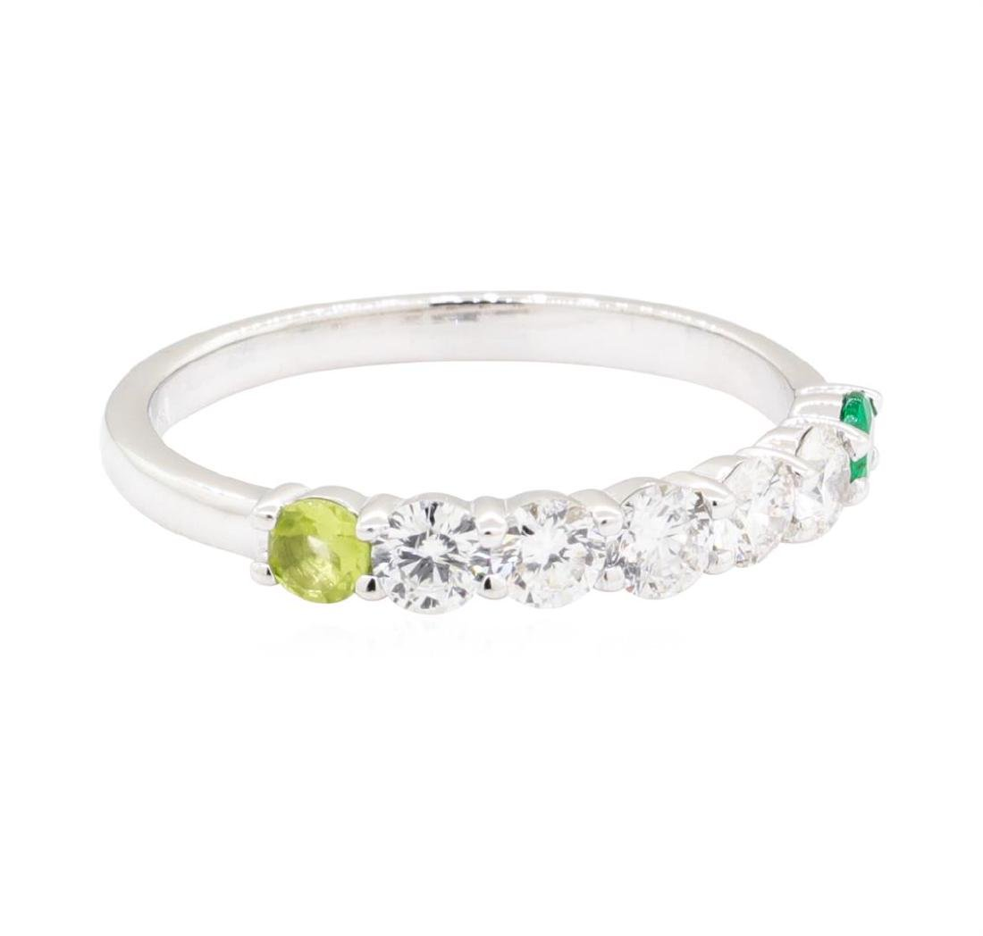 14KT White Gold 0.50 ctw Diamond, Peridot and Emerald