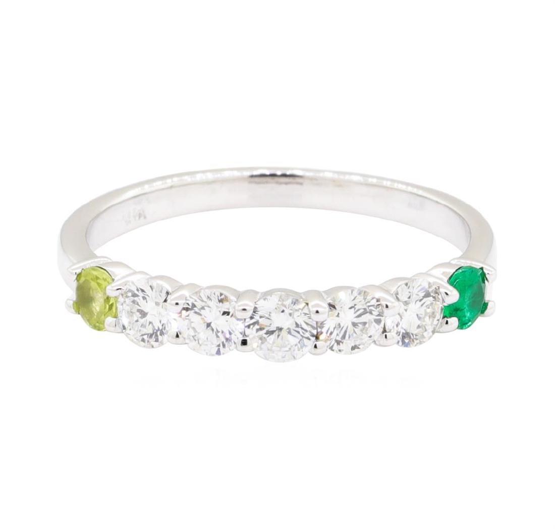 14KT White Gold 0.50 ctw Diamond, Peridot and Emerald - 2