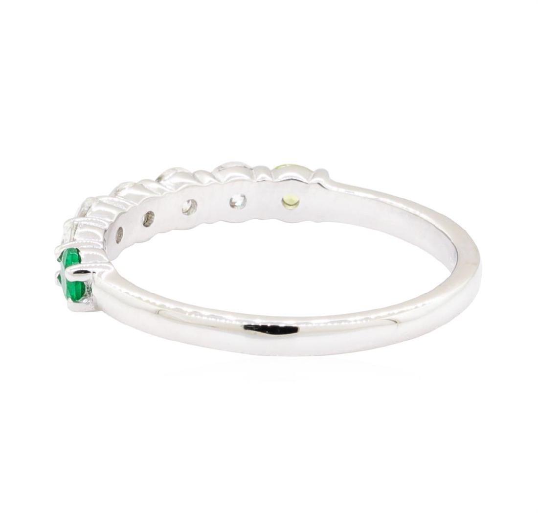 14KT White Gold 0.50 ctw Diamond, Peridot and Emerald - 3