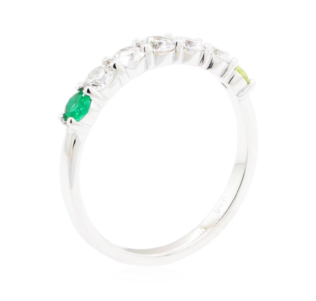 14KT White Gold 0.50 ctw Diamond, Peridot and Emerald - 4