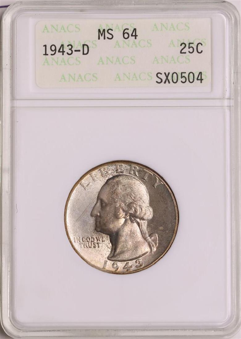1943-D Washington Quarter Coin ANACS MS64