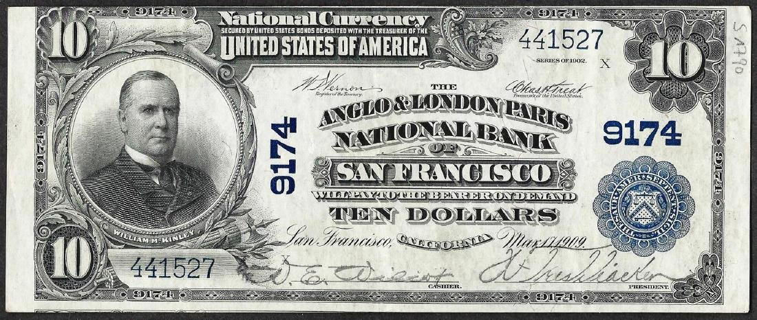 1902PB $10 Anglo & London Paris NB San Francisco, CA