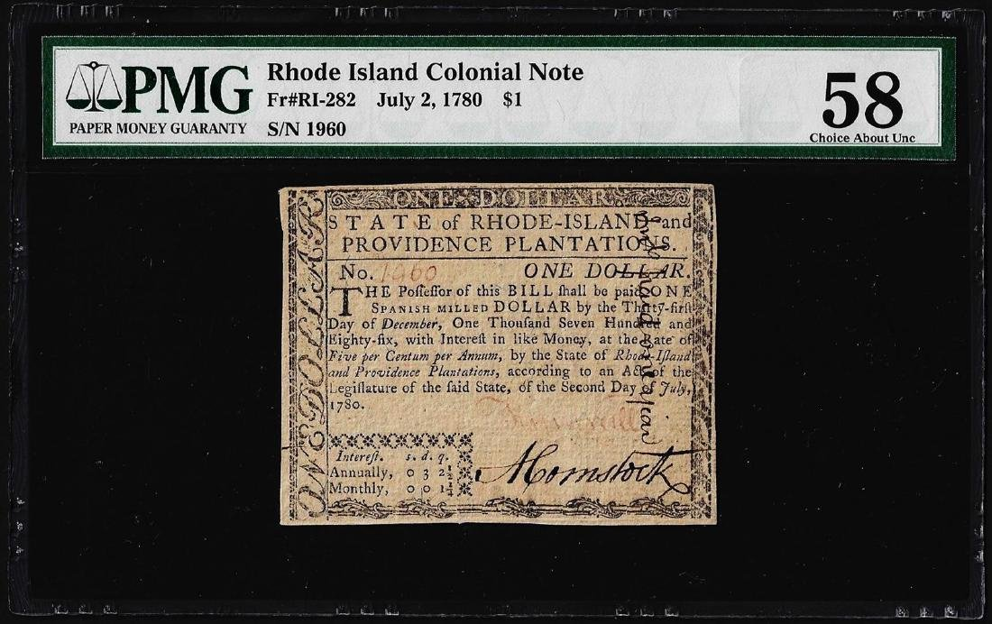 July 2, 1780 $1 Rhode Island Colonial Currency Note Fr.