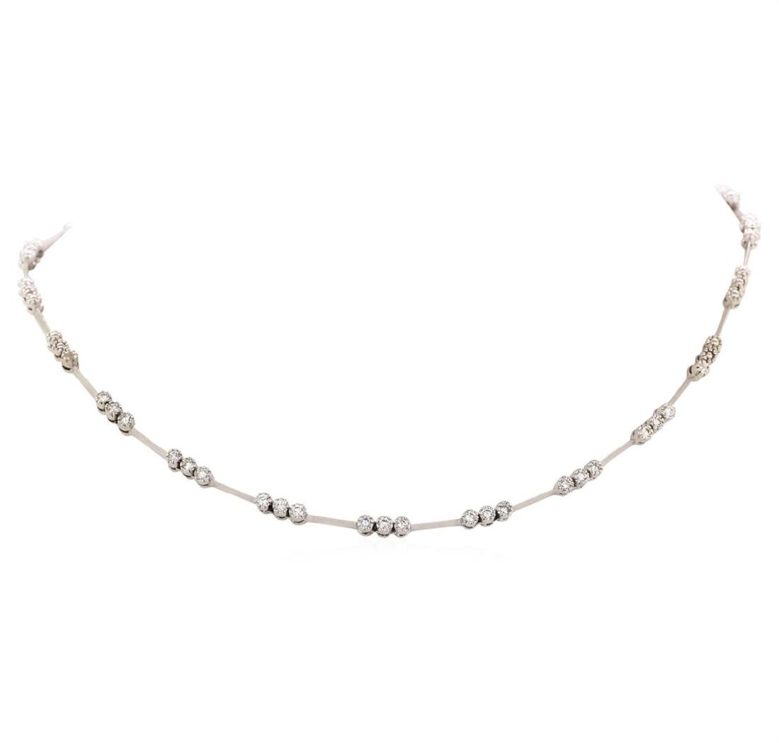 18KT White Gold 1.03 ctw Diamond Station Necklace