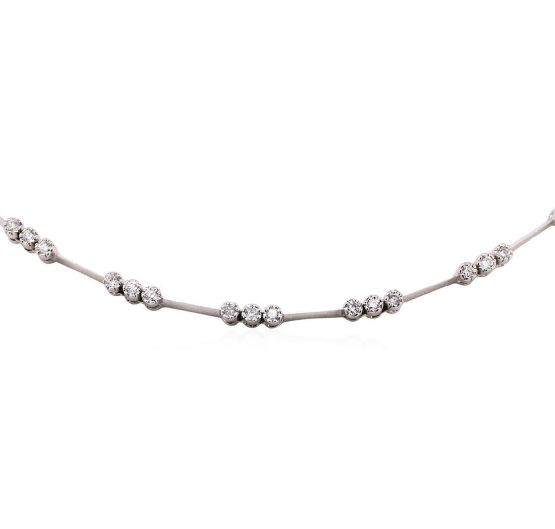 18KT White Gold 1.03 ctw Diamond Station Necklace - 2