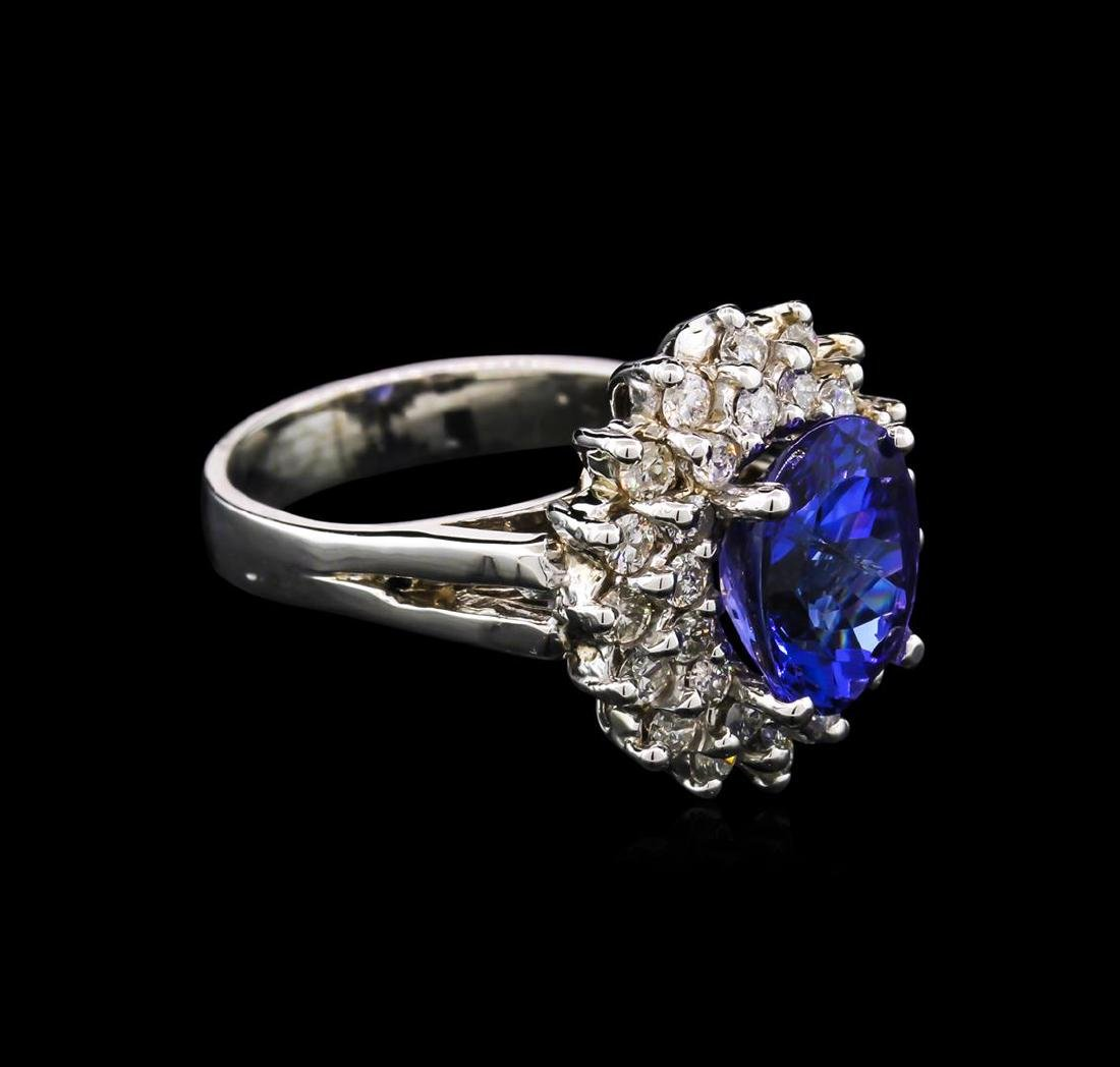 14KT White Gold 3.50 ctw Tanzanite and Diamond Ring - 2