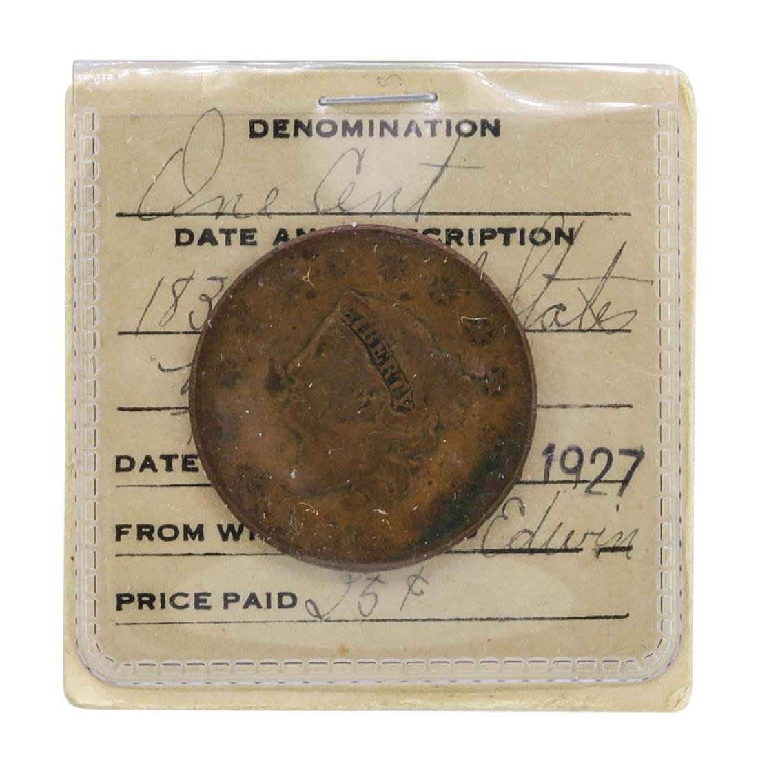 1833 Large One Cent Coin in Old Flip