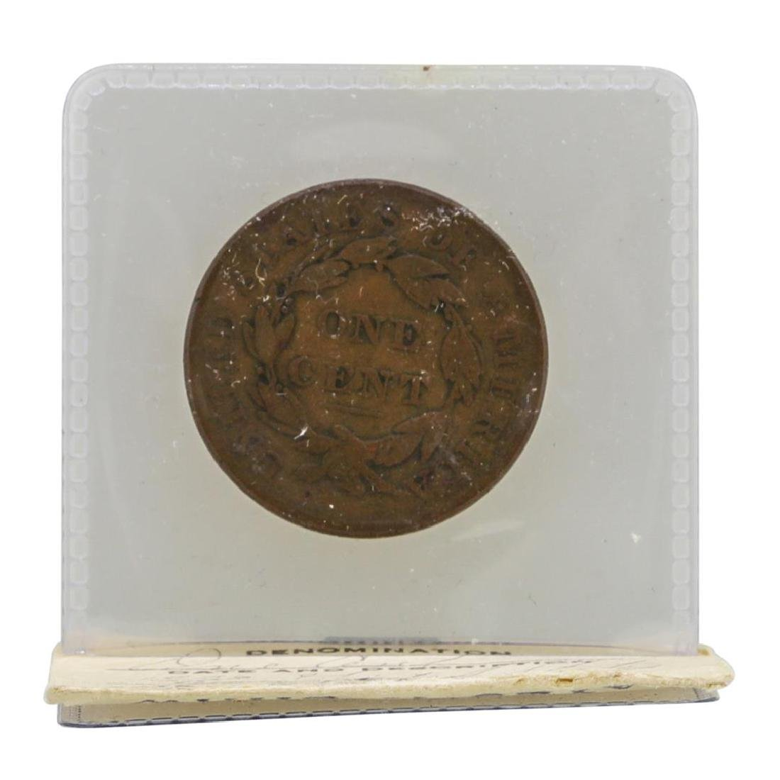 1833 Large One Cent Coin in Old Flip - 2