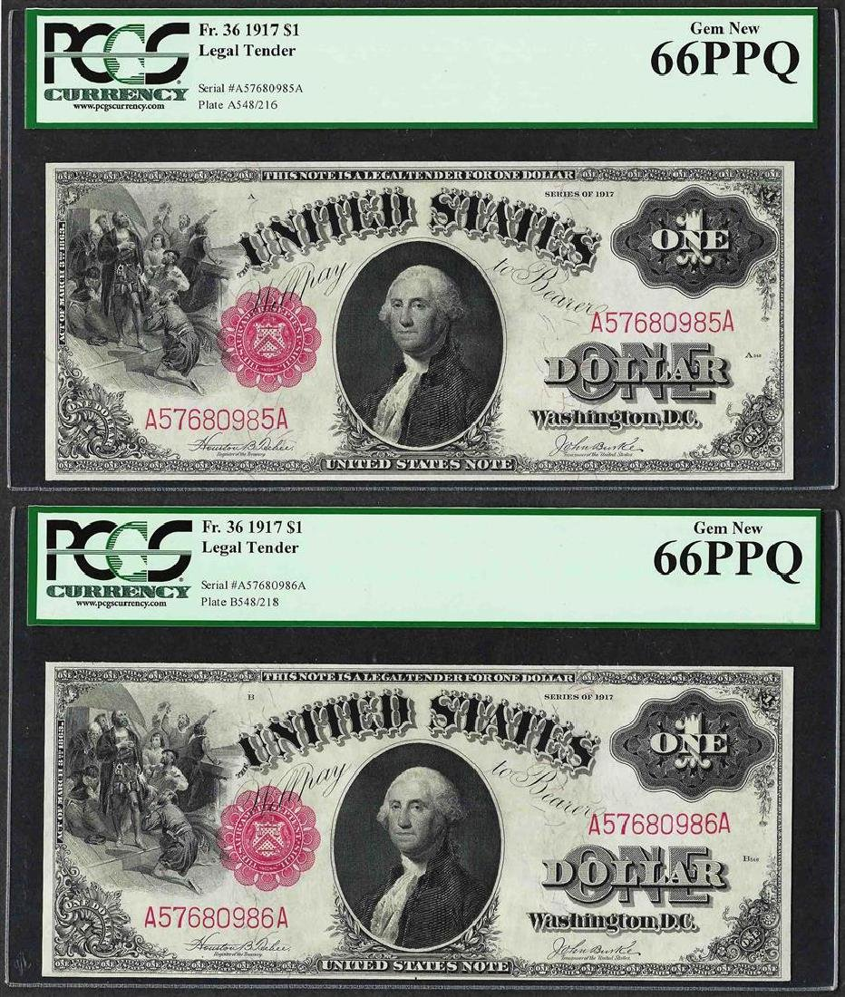 (2) Consecutive 1917 $1 Legal Tender Notes Fr.36 PCGS