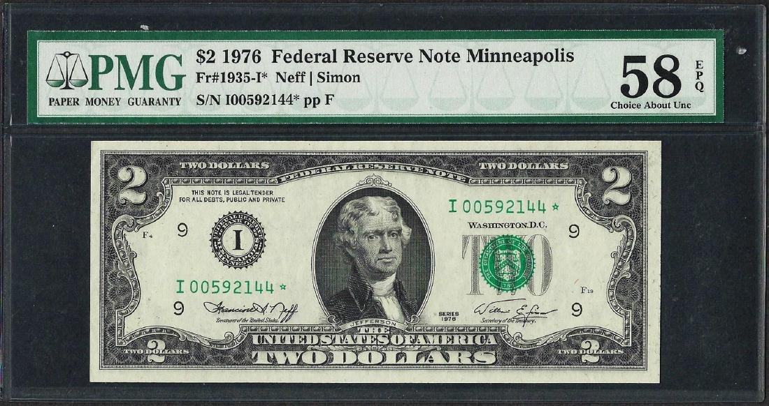1976 $2 Federal Reserve STAR Note Fr.1935-I* PMG Choice