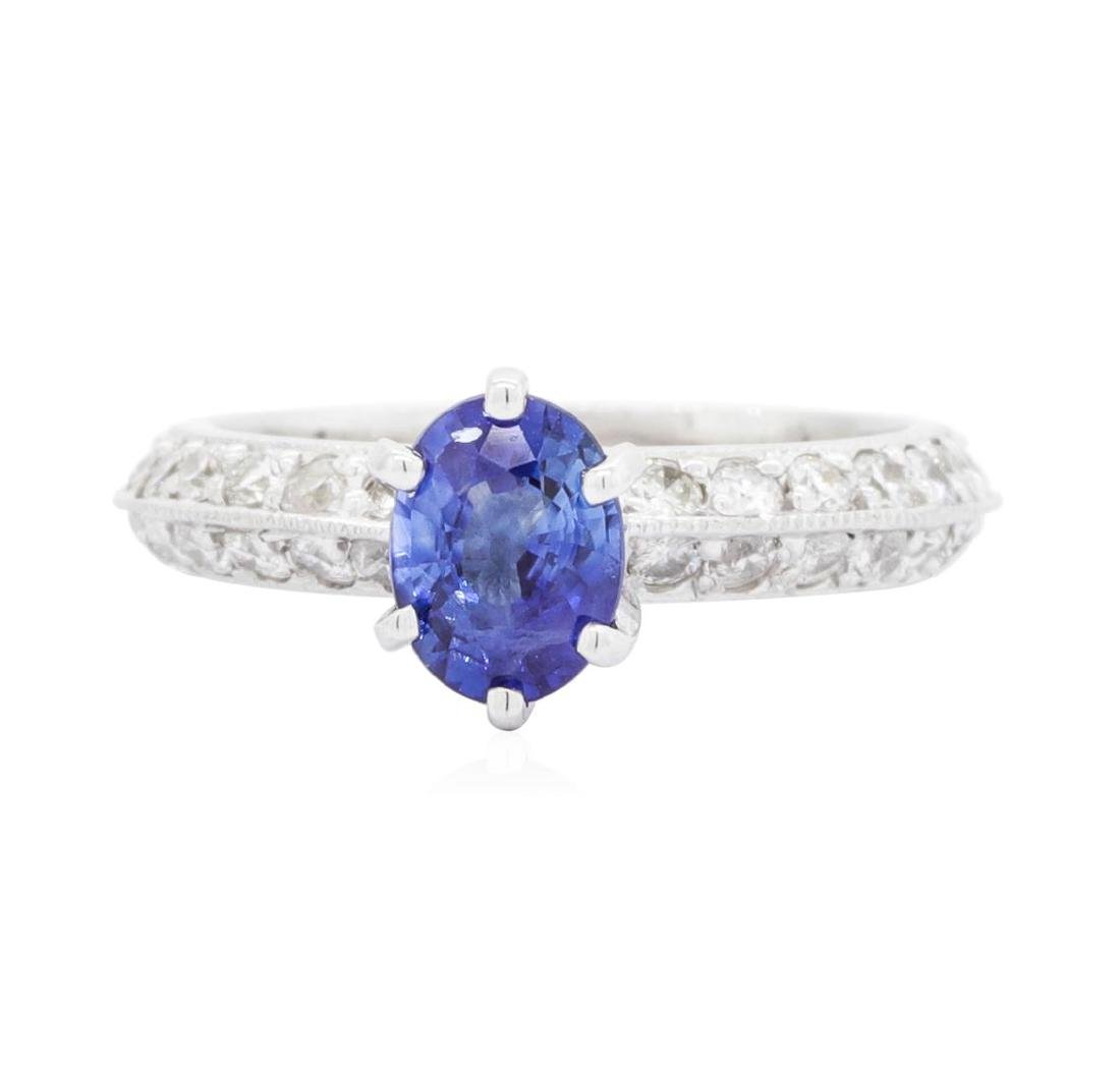 14KT White Gold 0.94 ctw Sapphire and Diamond Ring