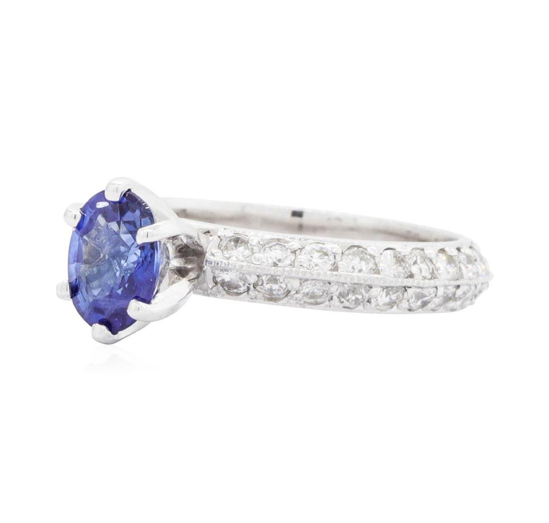 14KT White Gold 0.94 ctw Sapphire and Diamond Ring - 2