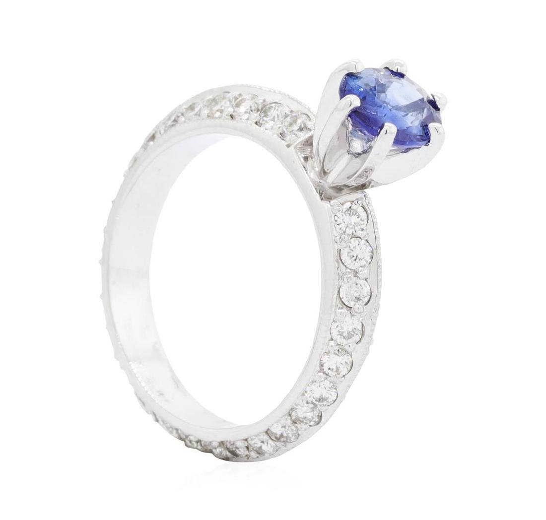 14KT White Gold 0.94 ctw Sapphire and Diamond Ring - 4