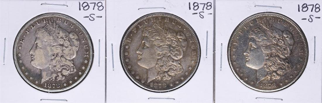 Lot of (3) 1878-S $1 Morgan Silver Dollar Coins
