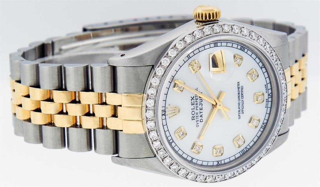Rolex Men's Two Tone 14K Mother Of Pearl Diamond 36MM - 4