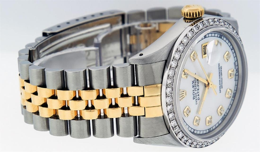 Rolex Men's Two Tone 14K Mother Of Pearl Diamond 36MM - 5