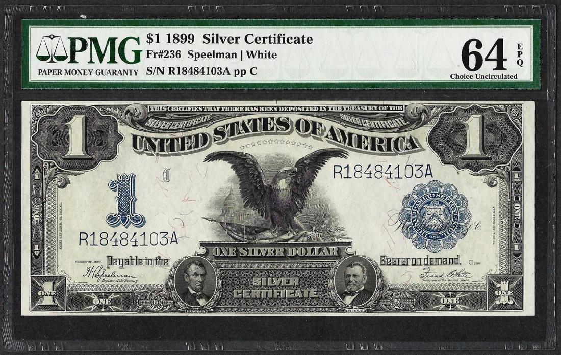 1899 $1 Black Eagle Silver Certificate Note Fr.236 PMG