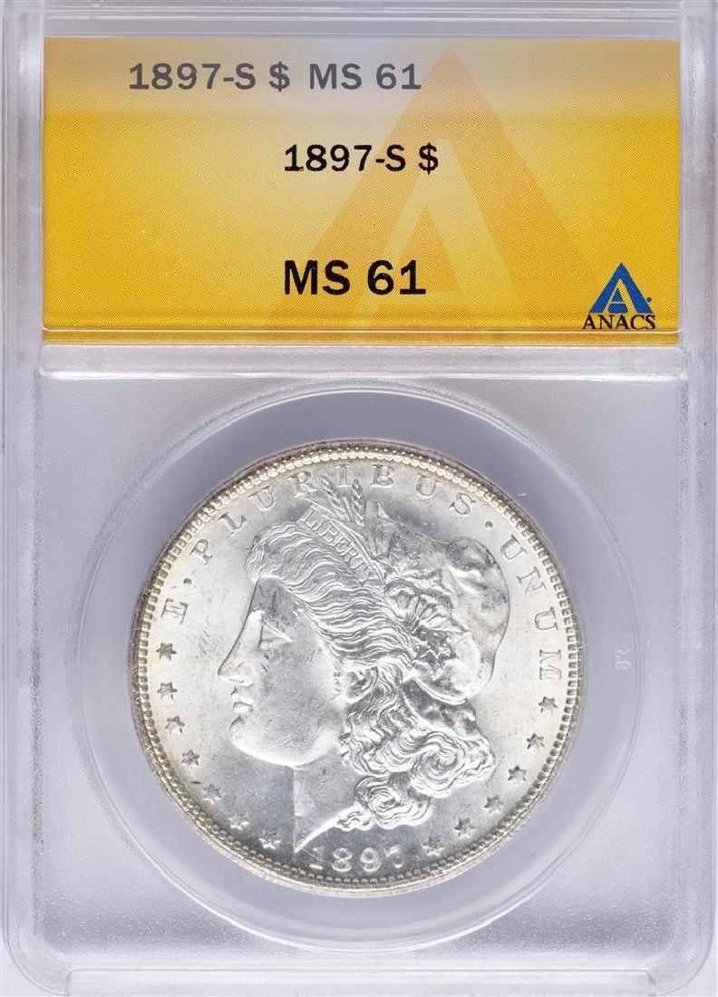 1897-S $1 Morgan Silver Dollar Coin ANACS MS61