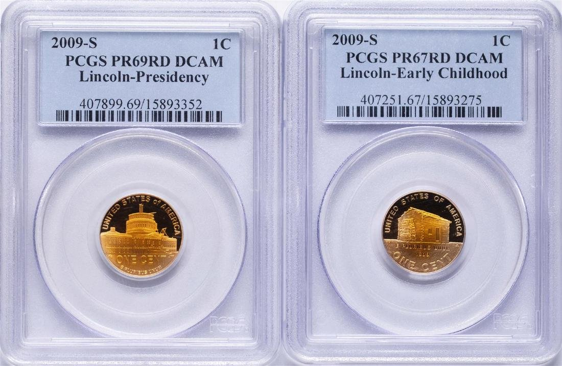 Lot of (2) 2009-S Lincoln Cent Proof Coins PCGS