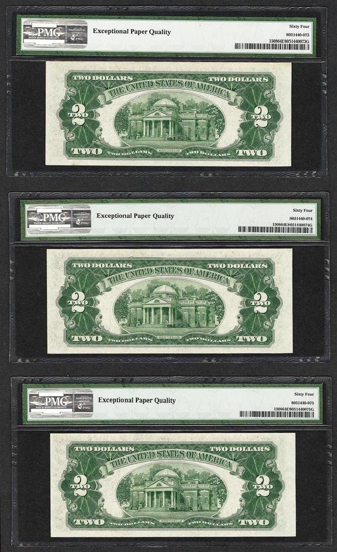 Lot of (3) Consecutive 1928G $2 Legal Tender Notes  PMG - 2