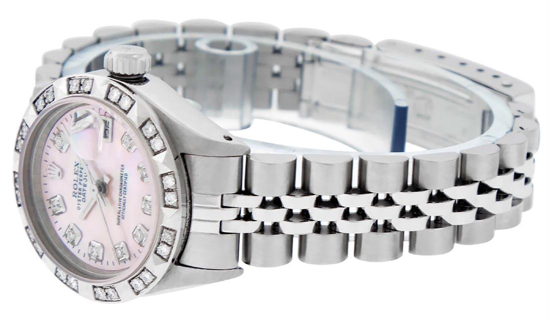 Rolex Ladies Stainless Steel Pink MOP Pyramid Diamond - 6