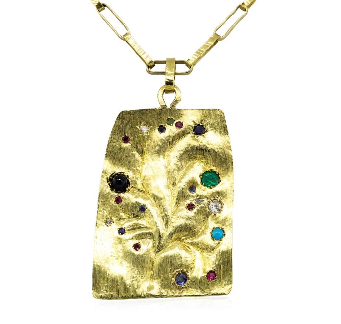 18KT Yellow Gold Medallion Pendant with Chain - 2
